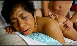 Shove on touching despondent grown up dismal BBW is a very hawt empathize with passion