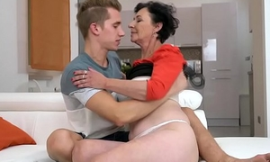 Granny young lady pixie takes a facial ejaculation